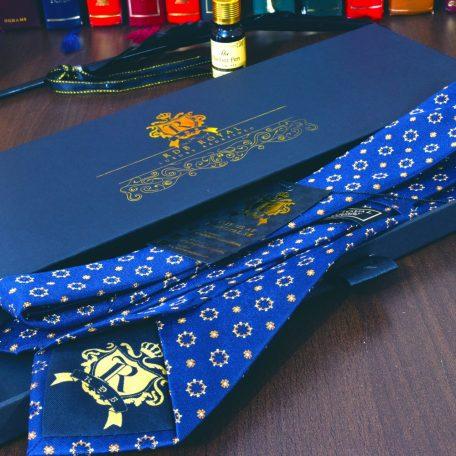 modrá floral foulard pánska hodvábna luxusná kravata Pure Luxury Collection