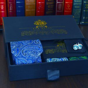 luxusný pánsky hodvábny elegantný darčekový set modro zelený bristol