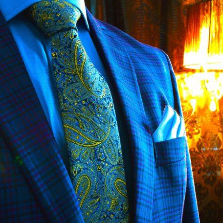 Luxusný pánsky hodvábny elegantný darčekový set v modro žltom prevedení