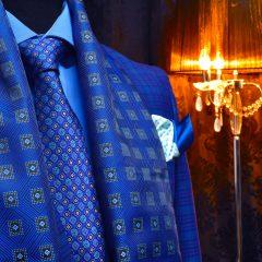 grand royal modrý foulard darčekový pánsky set z luxusných produktov
