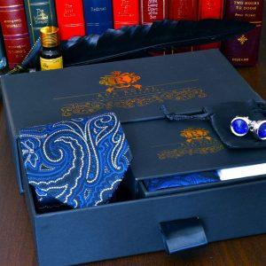 elegantný luxusný pánsky hodvábny darčekový pánsky set Neptun