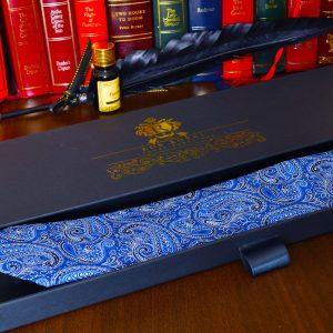 luxusná hodvábna pánsky paisley modrá kravata