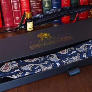 Hodvábna modro zlatá paisley kravata