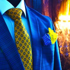 luxusný hodvábny pánsky darčekový set modro žltý