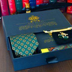 hodvábny pánsky elegantný britský darčekový set