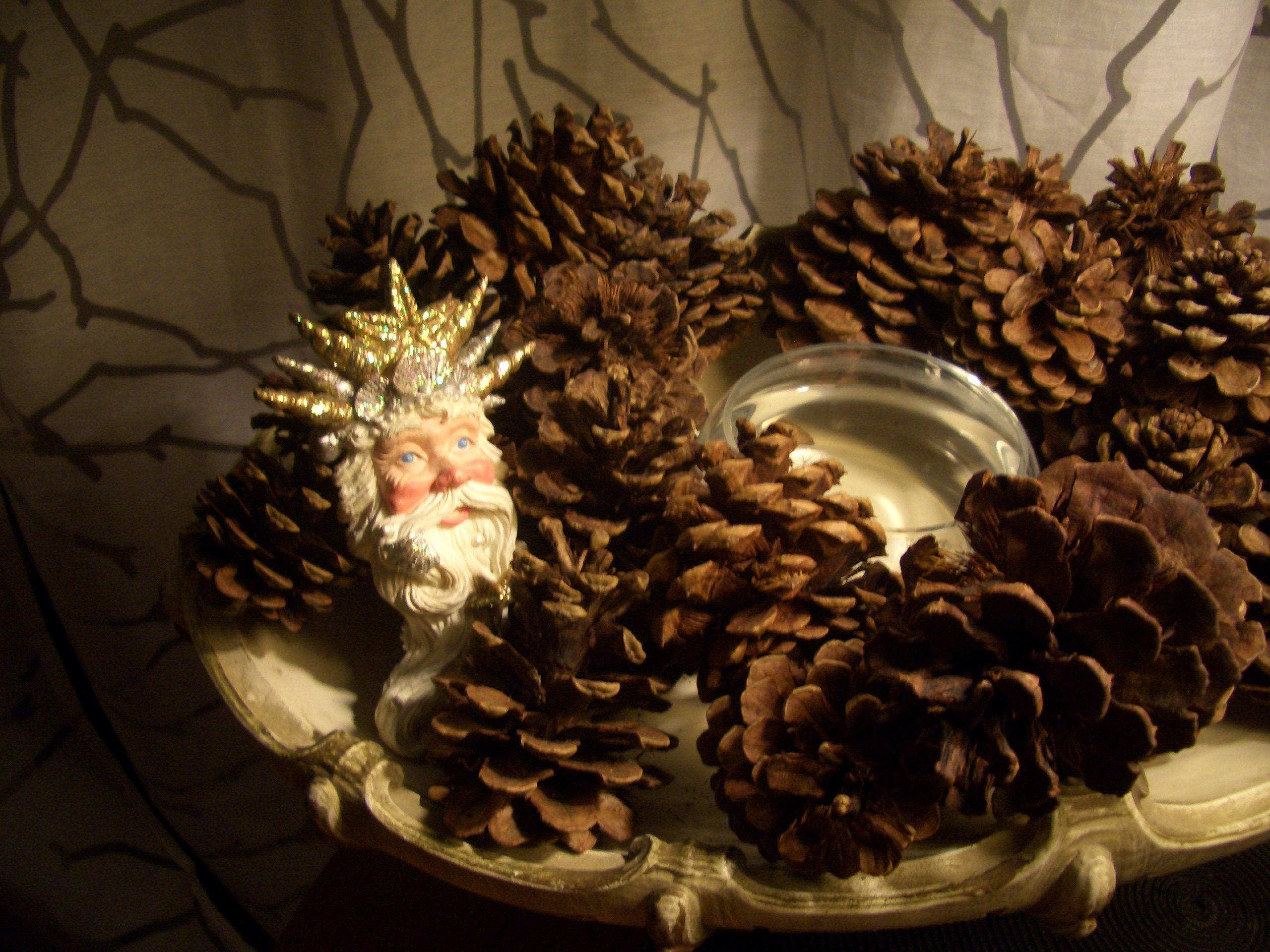 Pine cones as decorations