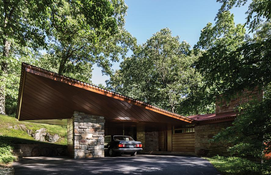 The carport of the home of Roland and Ronny Reisley, an innovation Wright claimed to have invented.