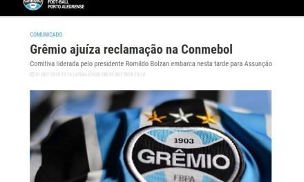 Grêmio encaminha reclamação à Conmebol