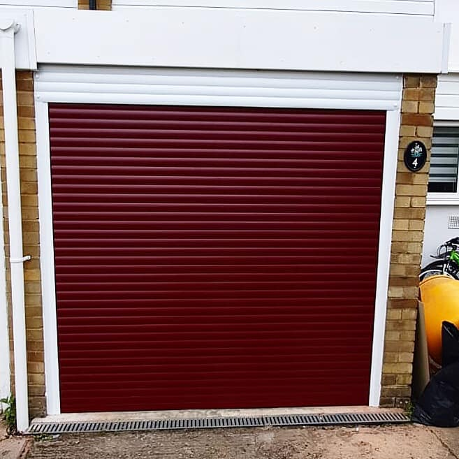 Wine red door white frame