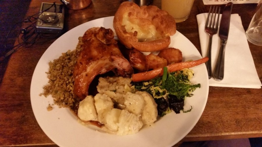 Roast dinner at The George, Strand.  The best Sunday roast in London.