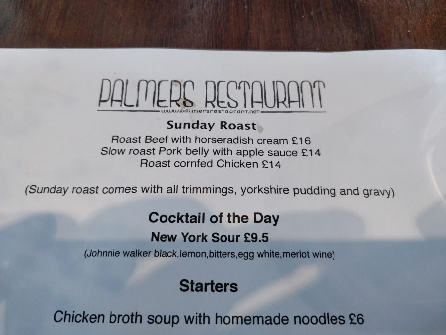 Palmer's Restaurant Roast Dinner Menu