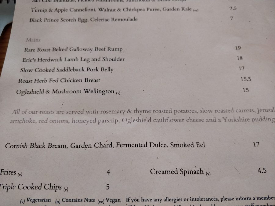 24 The Oval roast dinner menu