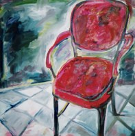 """""""Red Chair"""" oil on linen, 36 x 36 inches, 2001"""