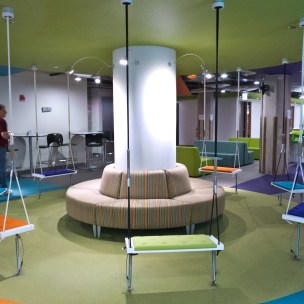 Swing seating at Groupon