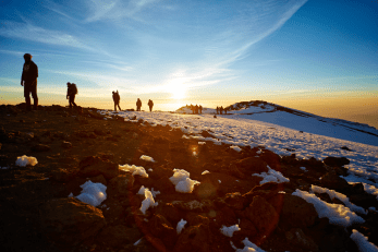mountain-climbing snows and sunrise