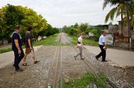 The railroad tracks shown here in Villa Comaltitlan have historically been been a drop off point for those escaping the social and economic problems of Guatemala, Honduras and El Salvador.
