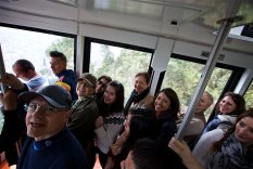 Our group riding the Monserrat Aerial Tram down