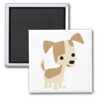 Inquisitive little dog cartoon magnet magnet
