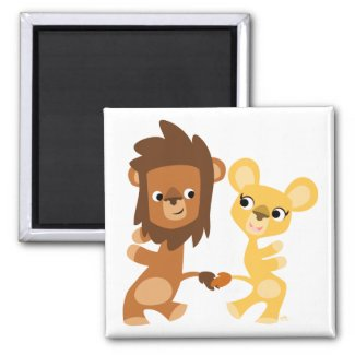 Cartoon Lion and Lioness  dancing magnet magnet