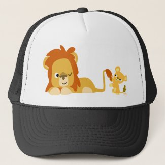 Cartoon Lion Dad and Cub hat hat