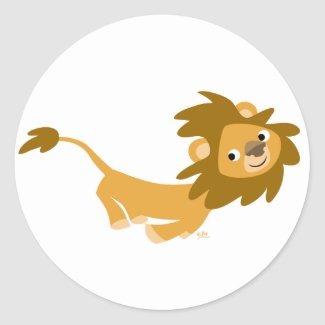 Cute Running Lion round sticker sticker