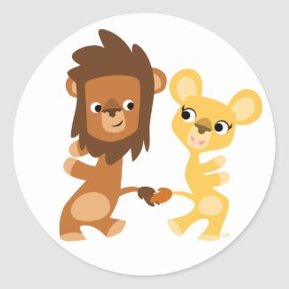 Cartoon Lion and Lioness  dancing round sticker sticker
