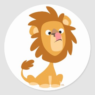 Silly Lion! cartoon round sticker sticker