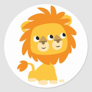 Two-Faced the cutest cartoon lion round sticker sticker