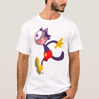 Monocular cat cartoon t-shirt shirt