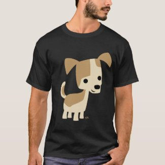 Inquisitive little dog cartoon T-shirt shirt