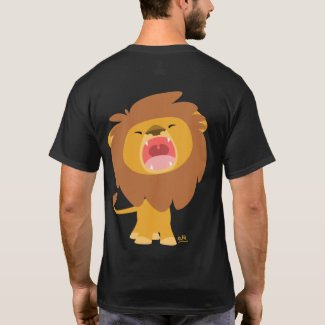 Cute Mighty Roaring Lion Cartoon T-shirt (back) shirt