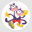 Monocular Cats in Tandem Walk sticker sticker