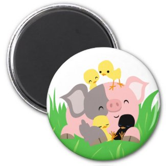 Easter pig and chicks magnet