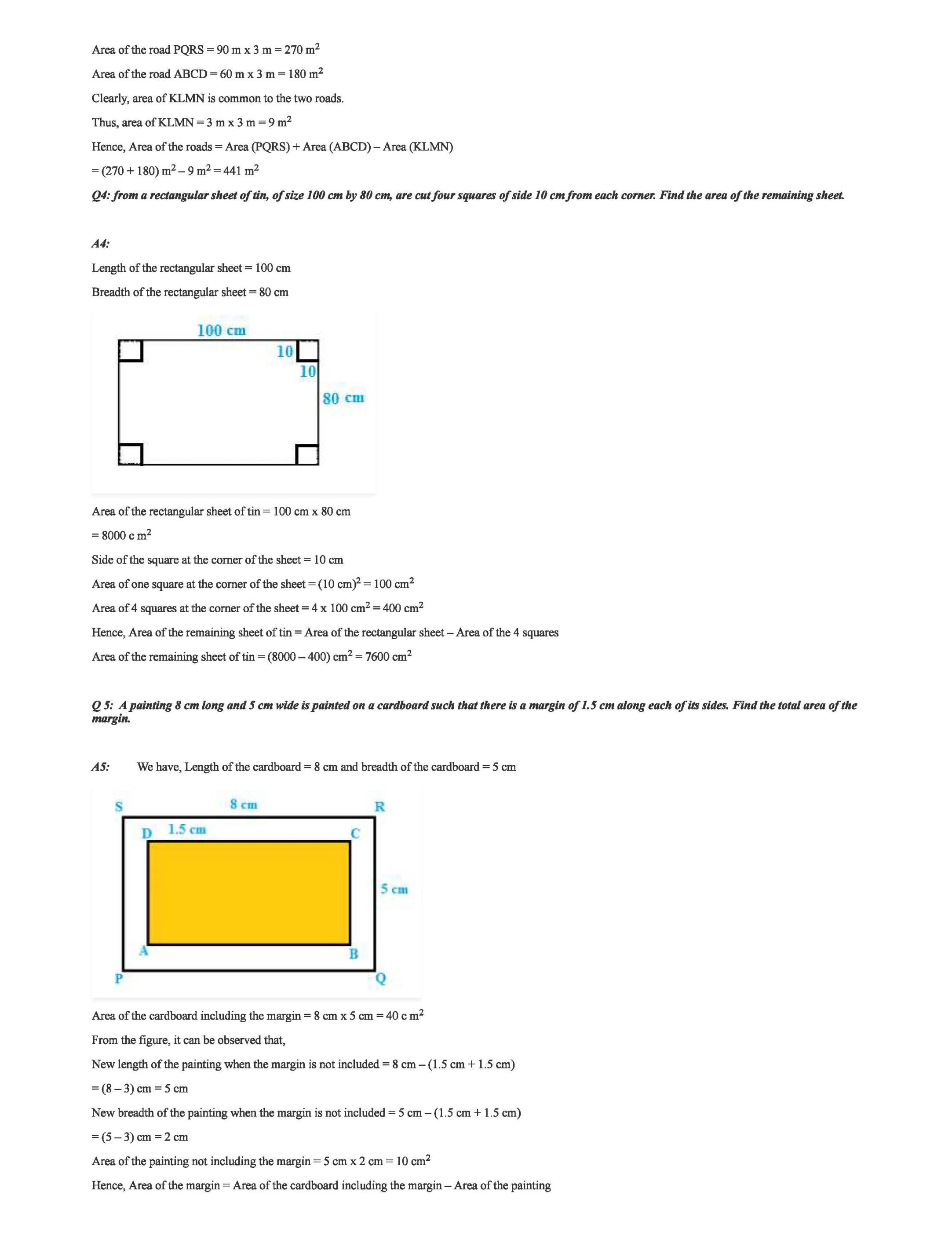 RD Sharma Class 7 Solutions Chapter 20 Mensuration I