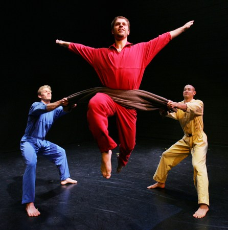 """Shapiro & Smith's """"Dance With Two Army Blankets"""" featuring Nicholas Cendese, Joshua Larson, and Thayer Jonutz."""