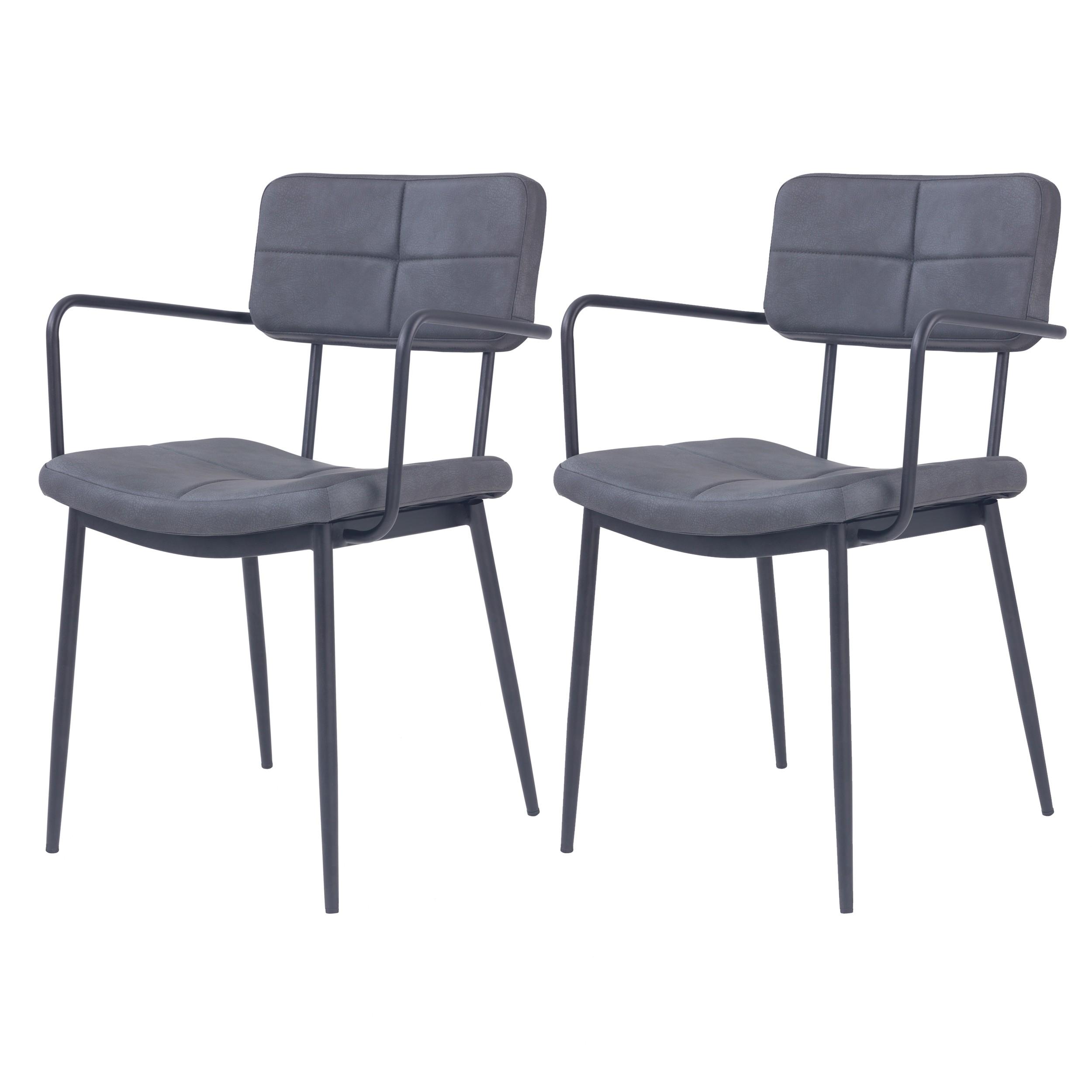 chaise noire igor avec accoudoirs lot de 2