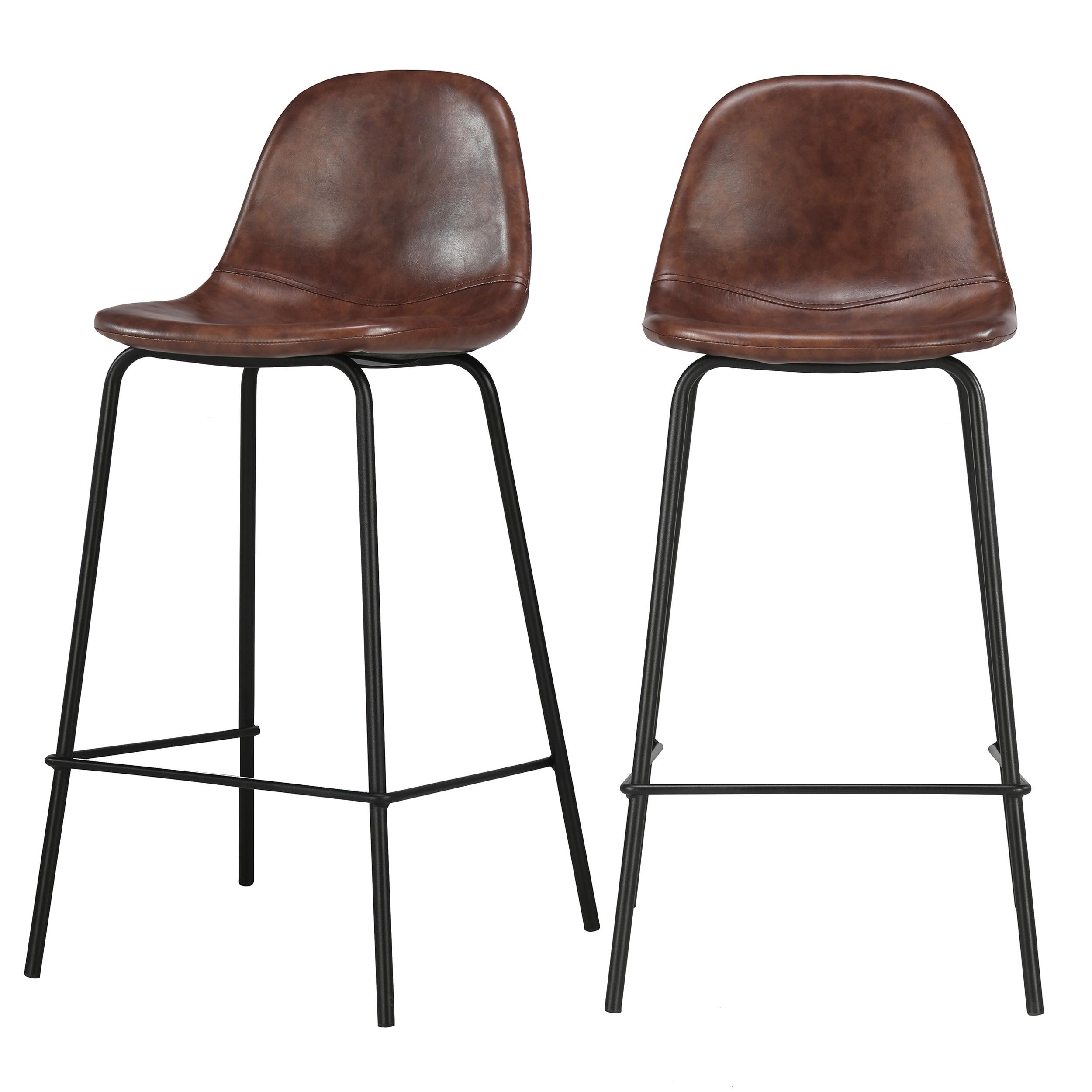chaise de bar mi hauteur henrik marron 65 cm lot de 2