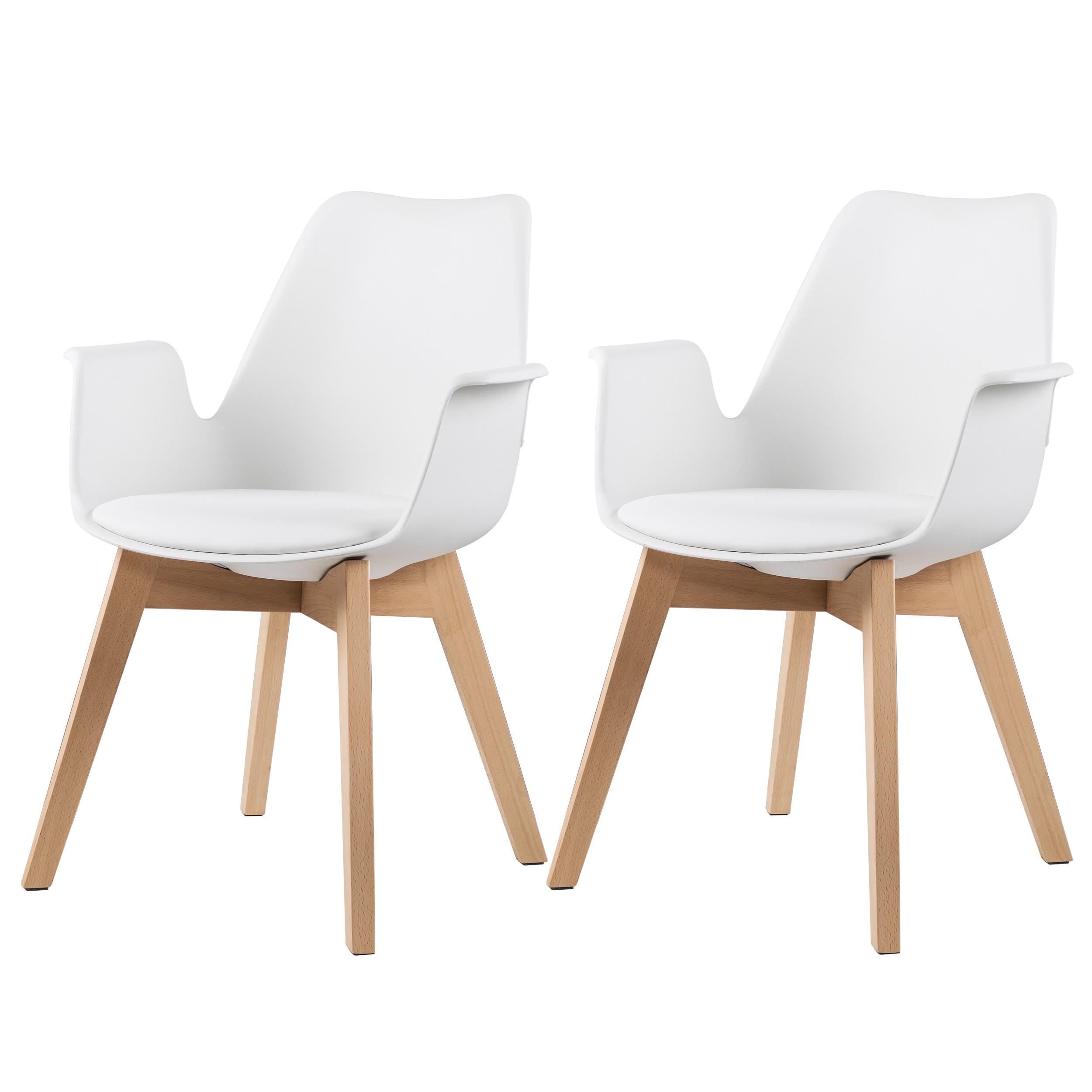chaise nordique blanche lot de 2
