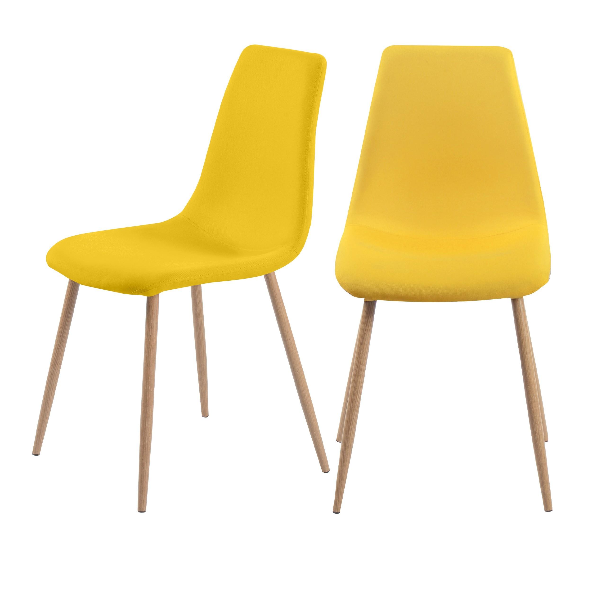 chaise aleksi jaune lot de 2