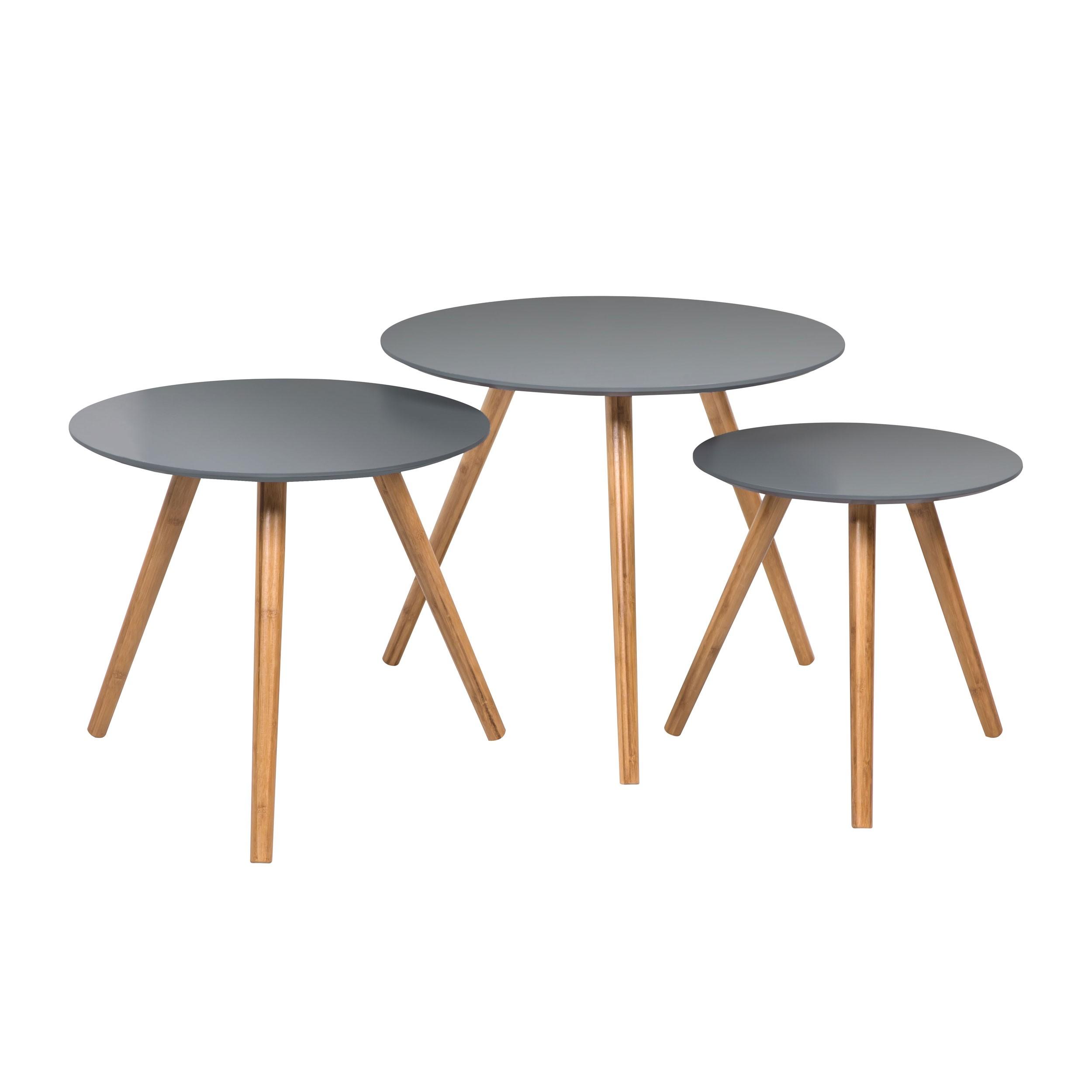 table basse ronde liv grise lot de 3