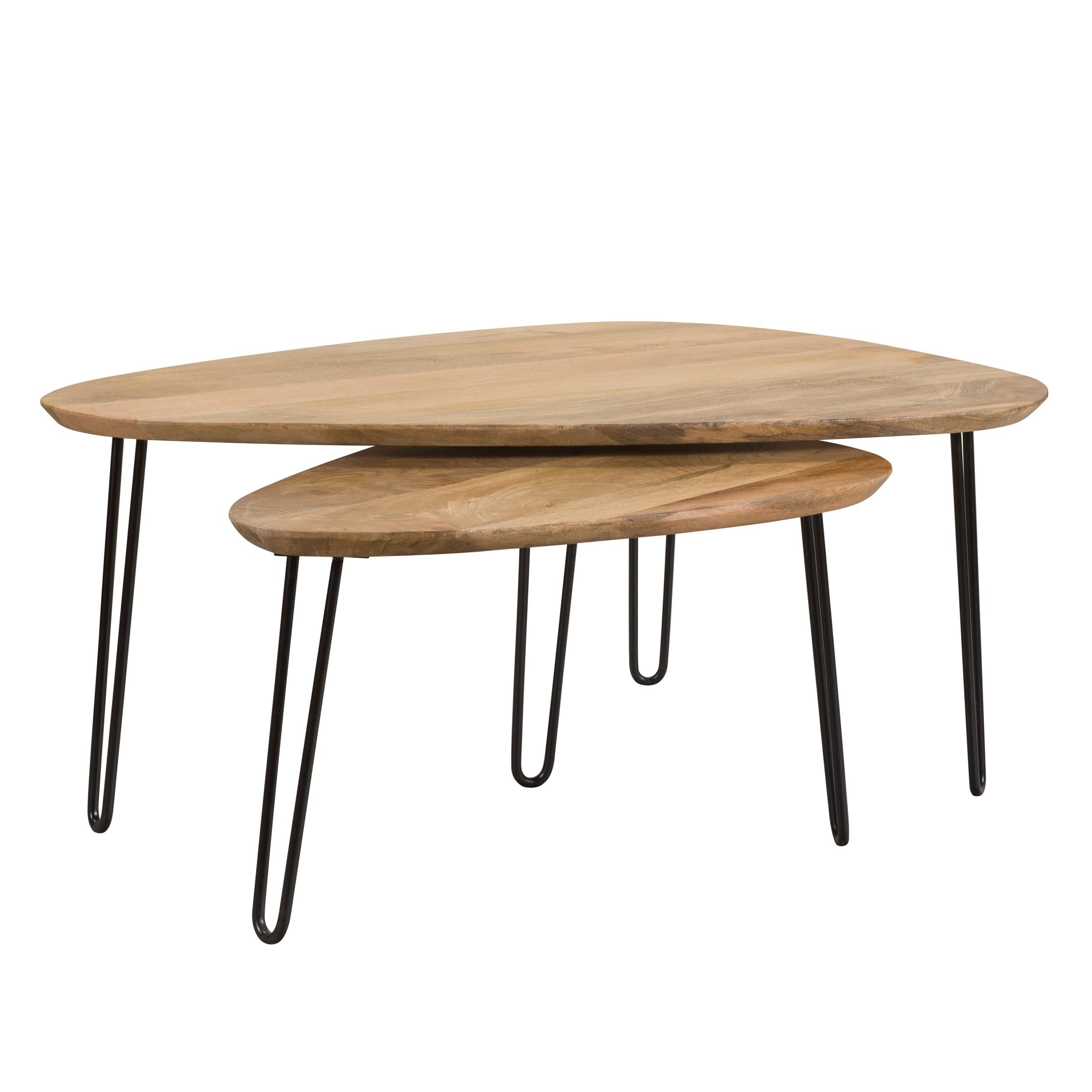 table basse gigogne kiwi en bois lot de 2