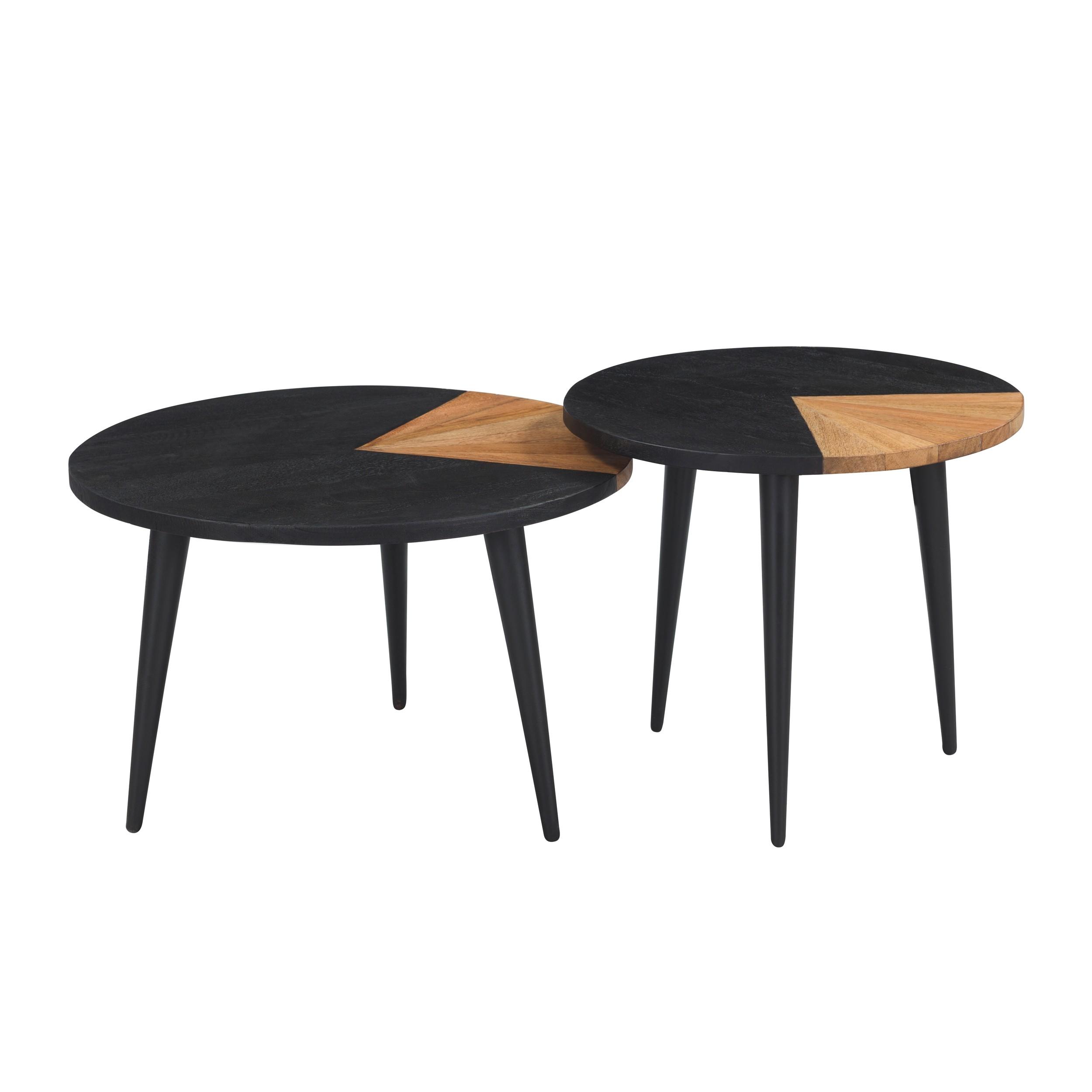 tables basses binome en bois d acacia lot de 2
