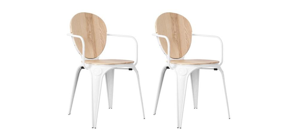 chaise louix industry blanche avec accoudoirs lot de 2