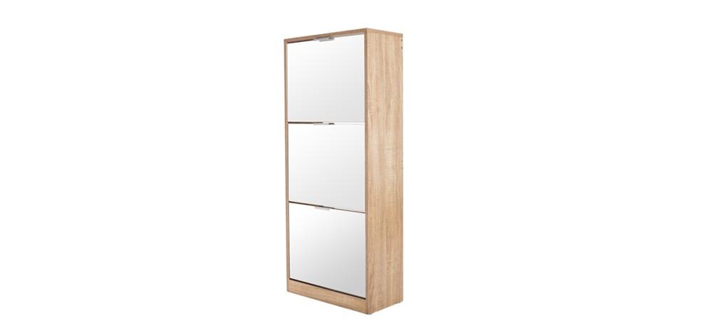 meuble a chaussures 3 tiroirs avec miroir skandi