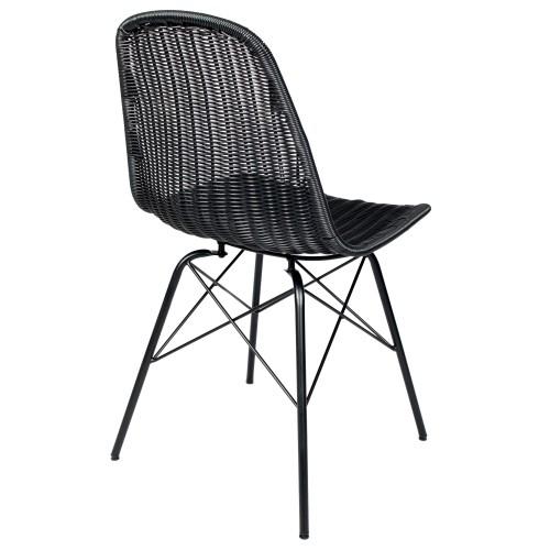 chaise tiptur en resine tressee noire lot de 2