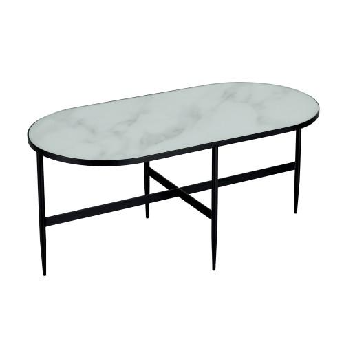 table basse ovale alaska en verre effet marbre et metal 100 cm