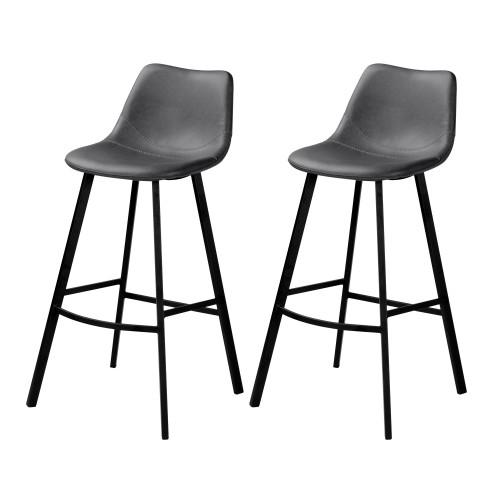 chaise de bar falko grise 80 cm lot de 2