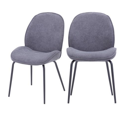 chaise kelly en tissu gris clair lot de 2