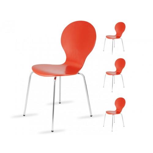 chaise abiel rouge lot de 4