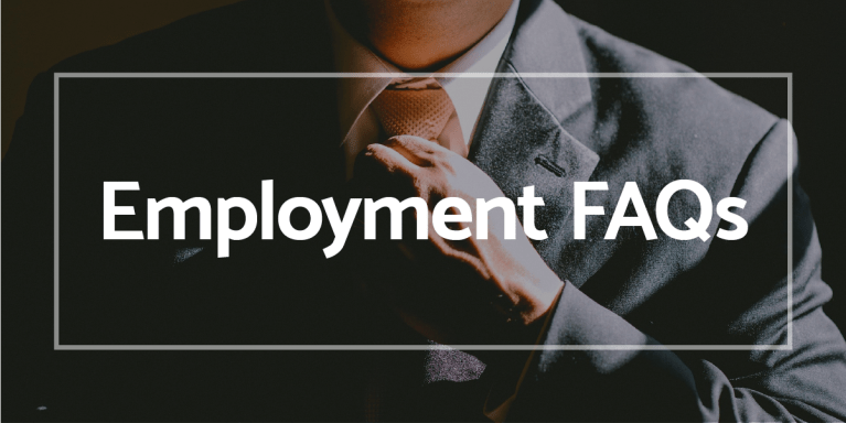 Employment FAQ's with man in business suit